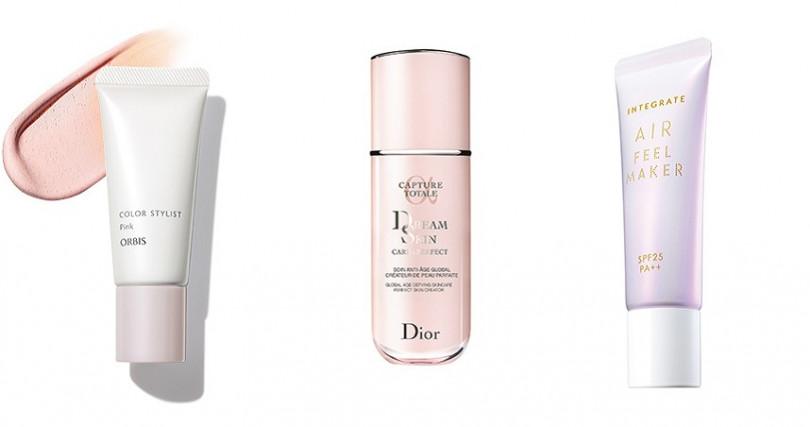 粉、紫色妝前乳修飾暗沉最有效,用量記得不要太多才不會造成膚色灰、髒。(圖/品牌提供)