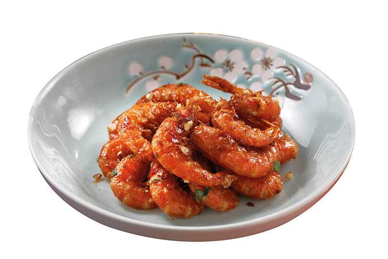 「陳皮油爆蝦」伴隨陳皮酸甜風味,冷熱吃皆宜。(四二○元)(圖/于魯光)