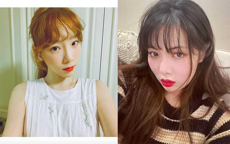 平常私底下韓星不會畫全妝,簡單的遮瑕加上腮紅就是好氣色心機TIPS。(圖/taeyeon_ss IG,hyunah_aa IG)