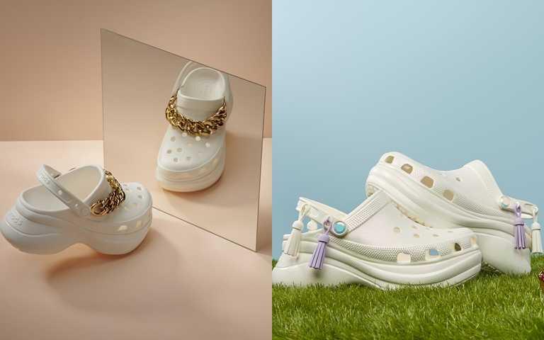 Crocs新推出以老爹鞋為靈感新系列,龐克金鍊&異國流蘇時尚裝飾。(圖/Crocs Taiwan)