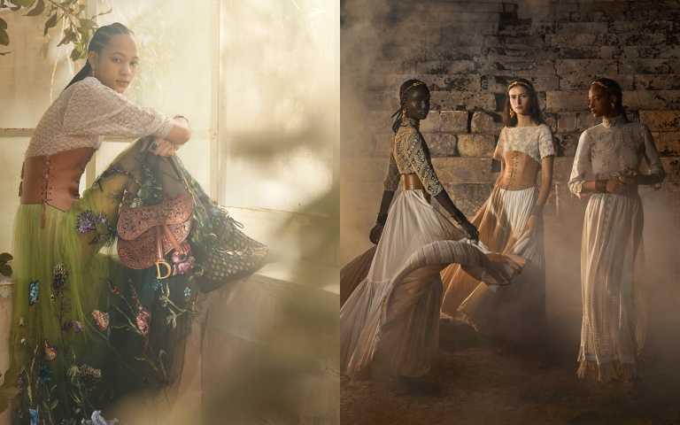 這次DIOR首度邀請香港攝影師 Lean Lui 雷安喬掌鏡 2021 早春度假系列形象照。精細夢幻的珍貴編織蕾絲、從義大利傳統服飾取材的洋裝皮革馬甲框繪出的身形姿態;藝術家 Pietro Ruffo 創作的花卉繁華似錦般綻放於刺繡紗裙,對照鏤空 Lady Dior、托特包、馬鞍包等精彩皮革雕塑,在鏡頭下以散落滿地的魔法幻化出神話般的流動詩意。