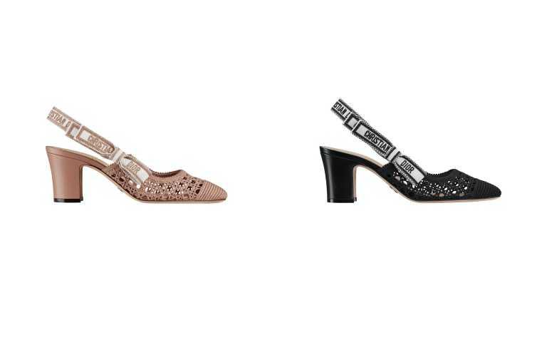 Dior & Moi 籐格紋棉質刺繡芭蕾舞中跟鞋