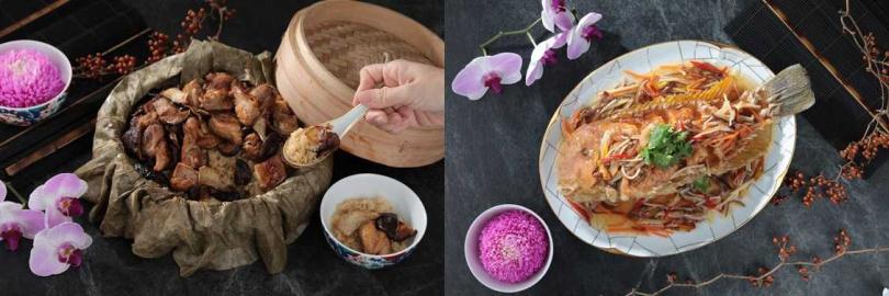 左為麻油雞米糕;右為五柳枝。圖片來源:山海樓