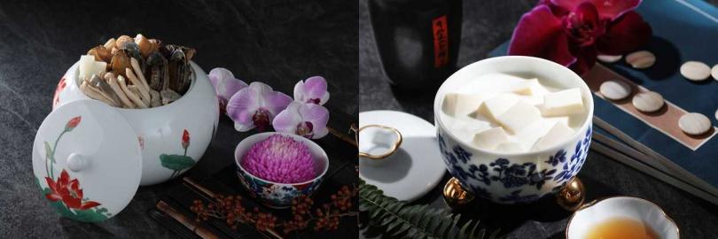 左為清湯四寶;右為杏仁豆腐。圖片來源:山海樓