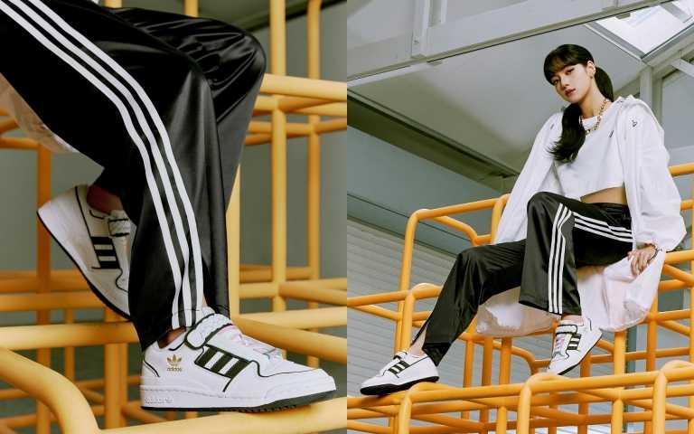 adidas Originals BELLISTA短版T恤 / 1,690元;長版風衣外套 / 4,890元,緞面寬褲/3,290元;FORUM PLUS女生鞋款/4,290元(圖/品牌提供)