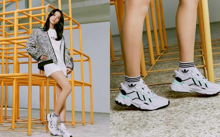 adidas OriginalsBELLISTA系列碎花運動外套/3,490元;長版T恤連身裙/2,090元;OZWEEGO女生鞋款/4,290元(圖/品牌提供)
