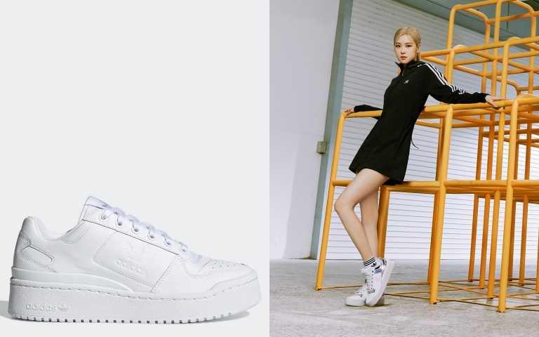 adidas OriginalsBELLISTA連身抽繩洋/3,490元;FORUM BOLD女生鞋款/3,890元(圖/品牌提供)