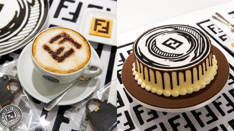 飲品、蛋糕上也有經典FENDI 雙 FF logo 幾何圖案,處處充滿巧思,讓人感覺備受款待!