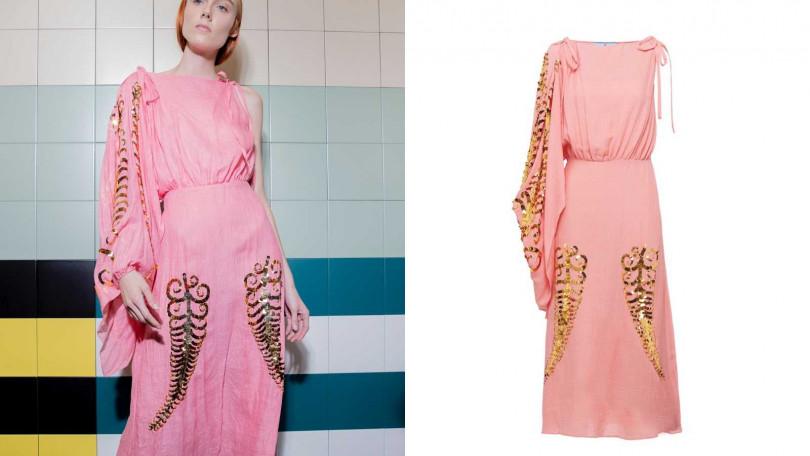 不對稱的剪裁搭配金色細節讓整體更加有趣。PRADA Slubbed Toile Dress洋裝/約106,180元(圖/品牌提供)