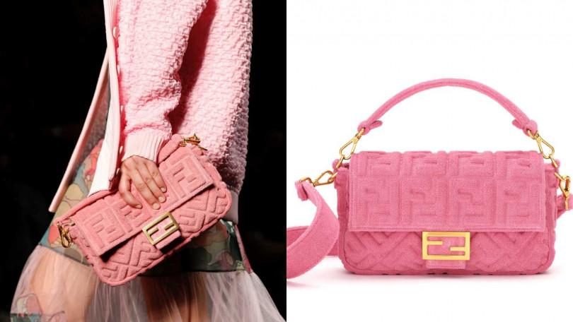利用材質與立體感,讓經典包款有了全新姿態。FENDI Pink Terrycloth Baguette包/約77,800元(圖/品牌提供)