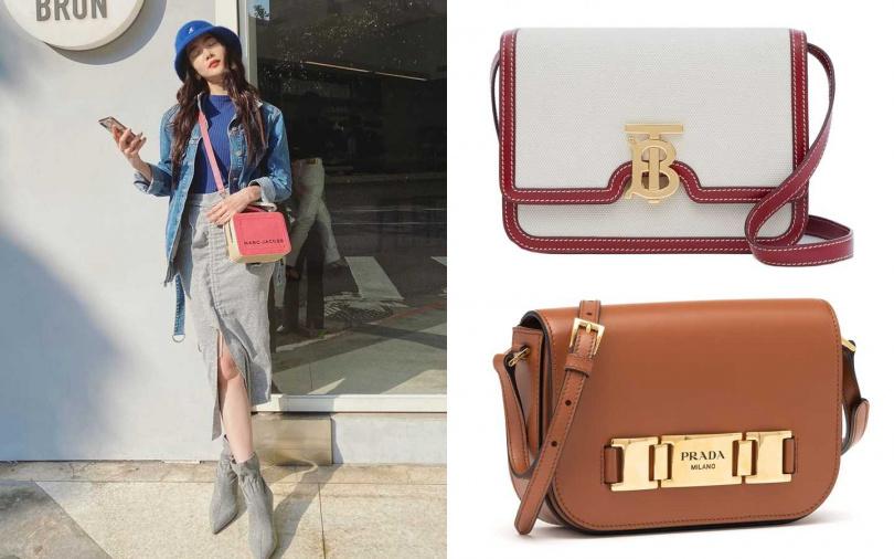 Burberry Small Two-tone Canvas and Leather TB Bag/65,000元、PRADA棕色Pattina肩背包/62,000元(圖/翻攝曾之喬IG、品牌提供)