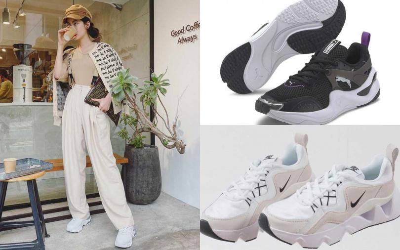 PUMA Rise Contrast Wn's慢跑運動鞋/3,280元、NIKE RYZ 365/2,900元(圖/翻攝曾之喬IG、品牌提供)