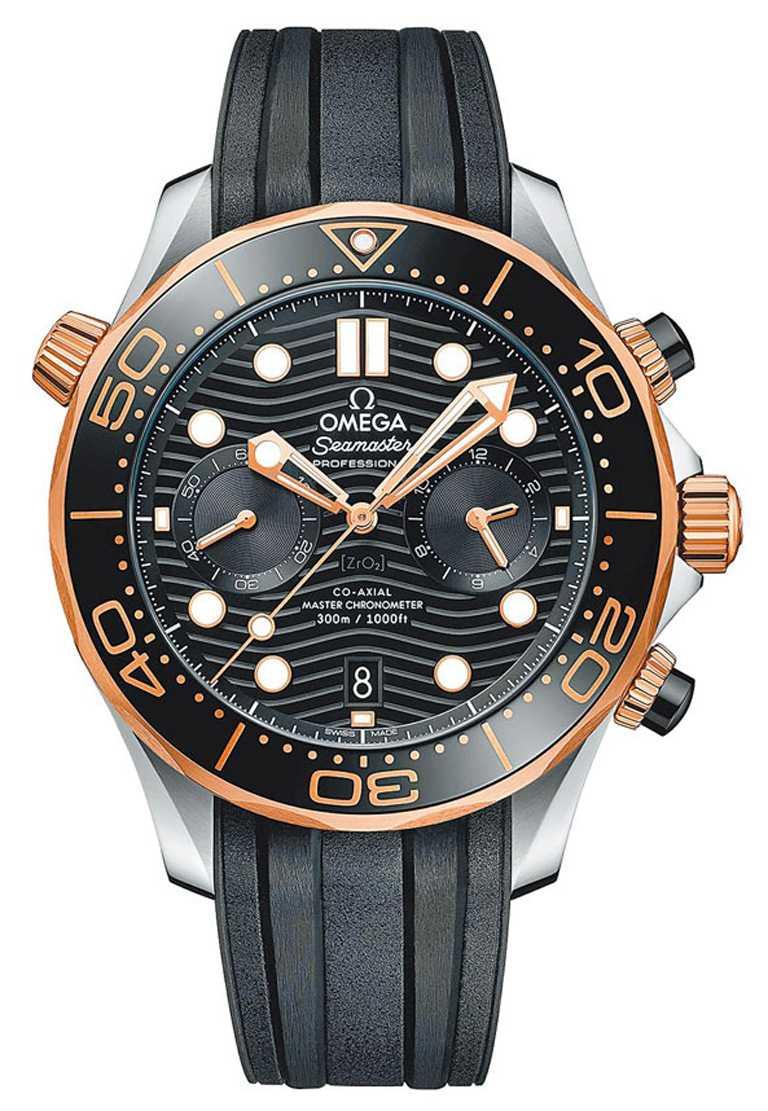 OMEGA「Seamaster海馬」系列潛水300米同軸擒縱大師天文台計時碼錶,42 mm╱343,000元。(圖╱OMEGA提供)