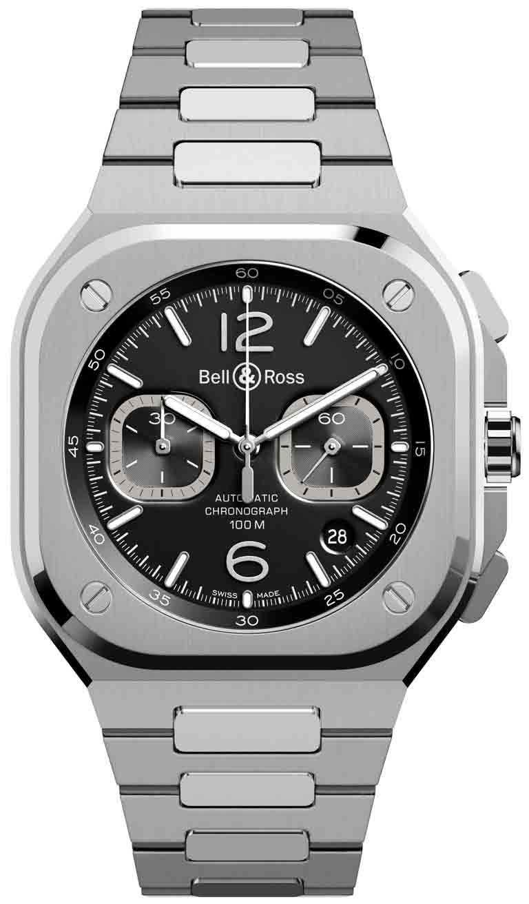 Bell & Ross「BR05」系列Chrono Black Steel計時腕錶╱精鋼錶殼、錶鍊,極黑色錶面,BR 302型自動上鏈機芯,42mm╱211,000元。(圖╱Bell & Ross提供)