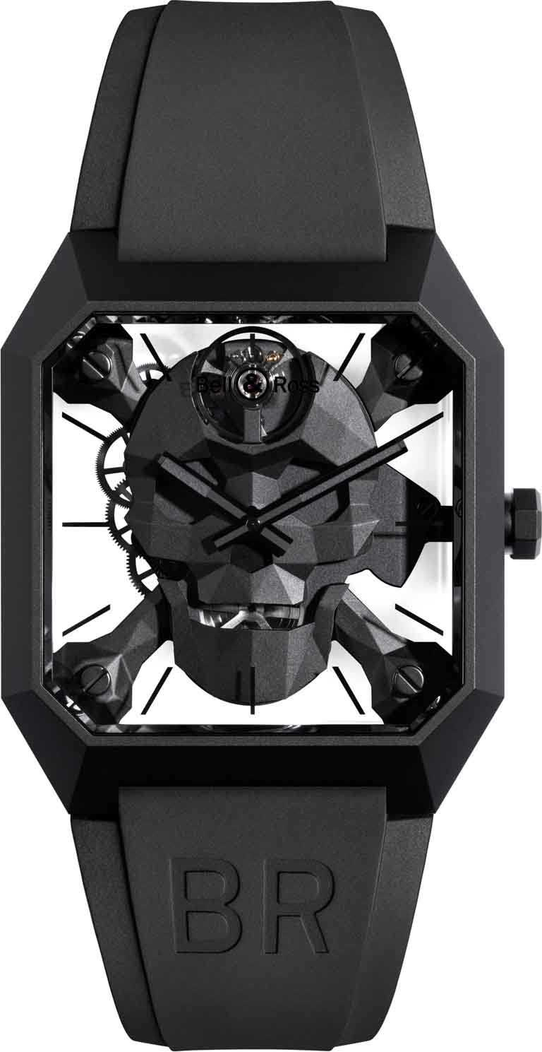 Bell & Ross「BR01 Cyber Skull」限量骷顱腕錶╱啞光黑陶瓷錶殼,BR 206型手動上鏈機芯,45mm,限量500只╱354,000元。(圖╱Bell & Ross提供)