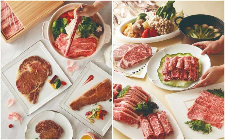 日本名牛新春日和禮盒(左)、世界和牛萬國饗宴禮盒。(圖/美福食集提供)