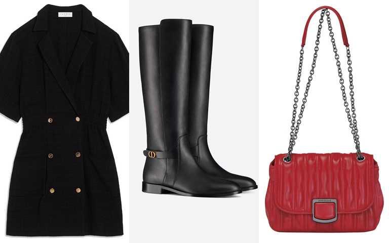 喜歡喬喬的造型妳可以這樣搭>>Sandro黑底金排扣洋裝/11,360元、DIOR EMPREINTE靴/60,000元、LONHCHAMP Brioche 系列斜揹袋(紅色)/26,400元。(圖/品牌提供)