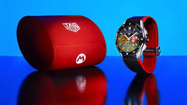 TAG Heuer「Connected x Super Mario」限量版智能腕錶,隨附經典主題紅色旅行錶盒,限量2,000只╱70,700元。(圖╱TAG Heuer提供)