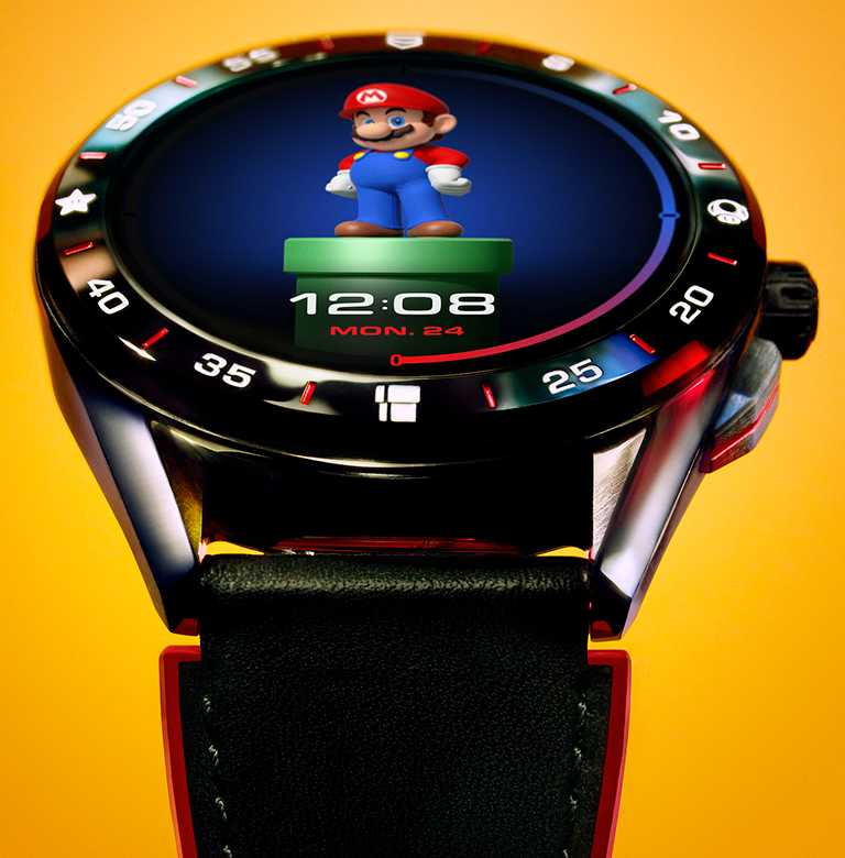 TAG Heuer「Connected x Super Mario」限量版智能腕錶,推出多款超級瑪利歐的錶面供使用者挑選。(圖╱TAG Heuer提供)