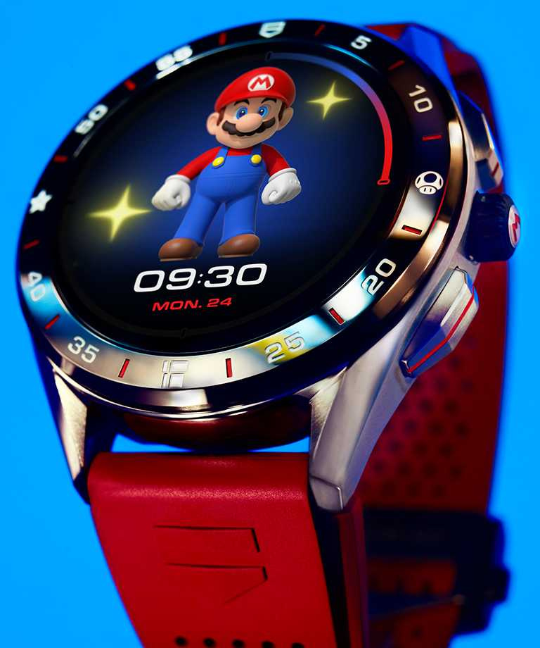 TAG Heuer「Connected x Super Mario」限量版智能腕錶,超級瑪利歐錶面。(圖╱TAG Heuer提供)