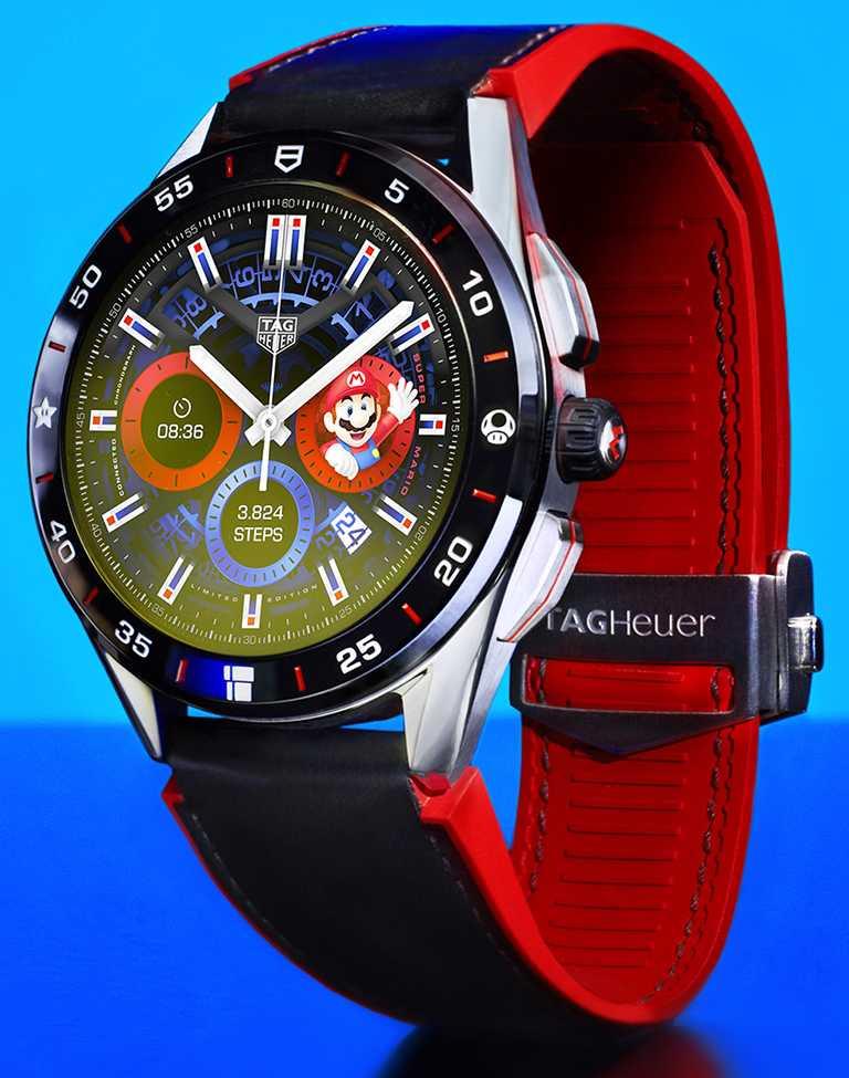 TAG Heuer「Connected x Super Mario」限量版智能腕錶,45mm,精鋼錶殼,限量2,000只╱70,700元。(圖╱TAG Heuer提供)