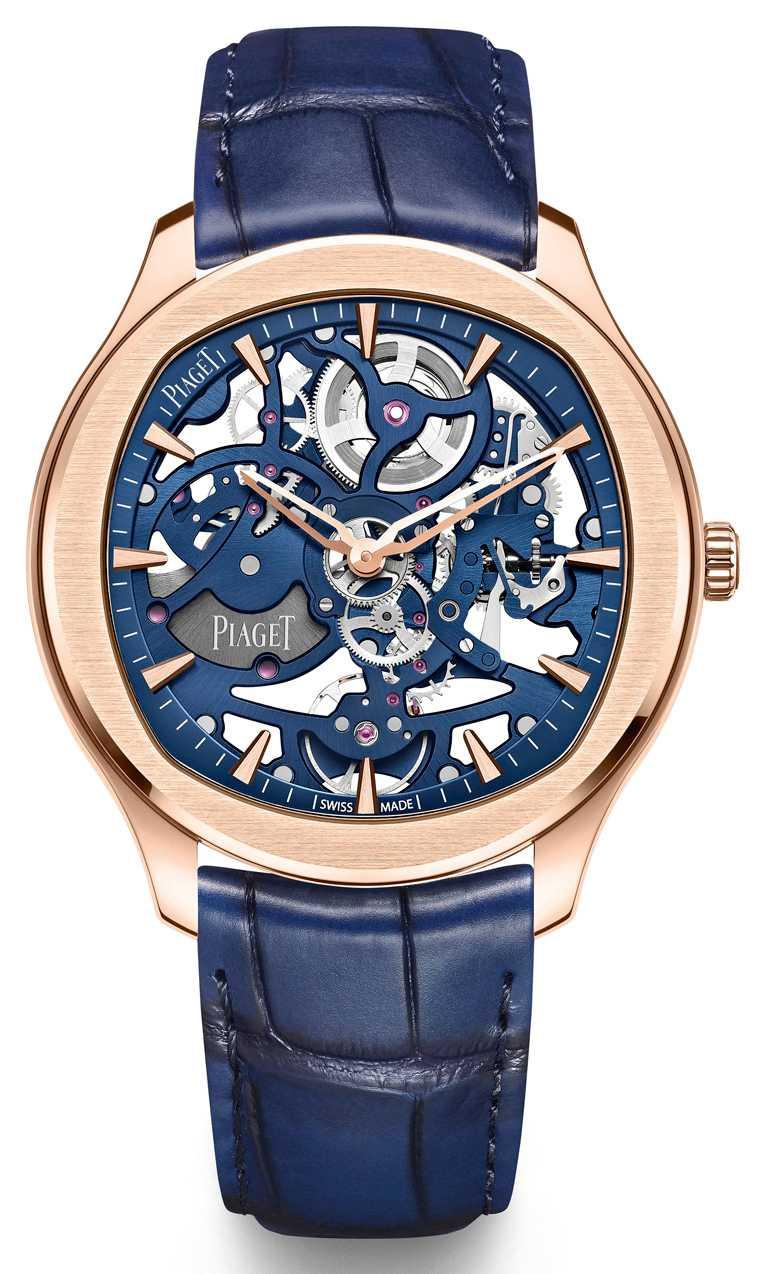 PIAGET「Polo」系列,伯爵藍鏤空18K玫瑰金超薄腕錶,42mm,18K玫瑰金錶殼,伯爵製1200S1型自動上鍊鏤空機芯╱1,350,000元。(圖╱PIAGET提供)