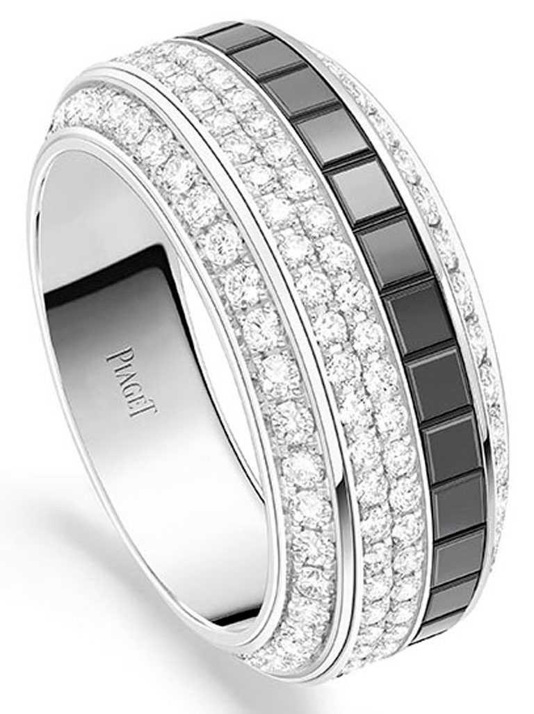 PIAGET「Possession」系列,18K白金黑色陶瓷鑽石戒指,圓形切割美鑽158顆╱610,000元。(圖╱PIAGET提供)