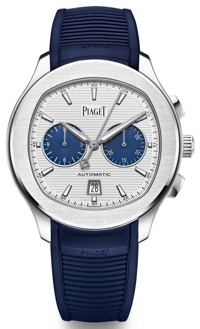 PIAGET「Polo」系列,精鋼自動上鍊計時碼錶,42mm,精鋼錶殼,伯爵製1160P型自動上鍊機芯,限量888只╱479,000元。(圖╱PIAGET提供)