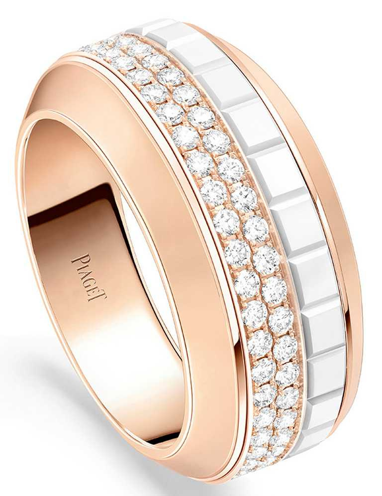 PIAGET「Possession」系列,18K玫瑰金白色陶瓷鑽石戒指,圓形切割美鑽90顆╱336,000元。(圖╱PIAGET提供)