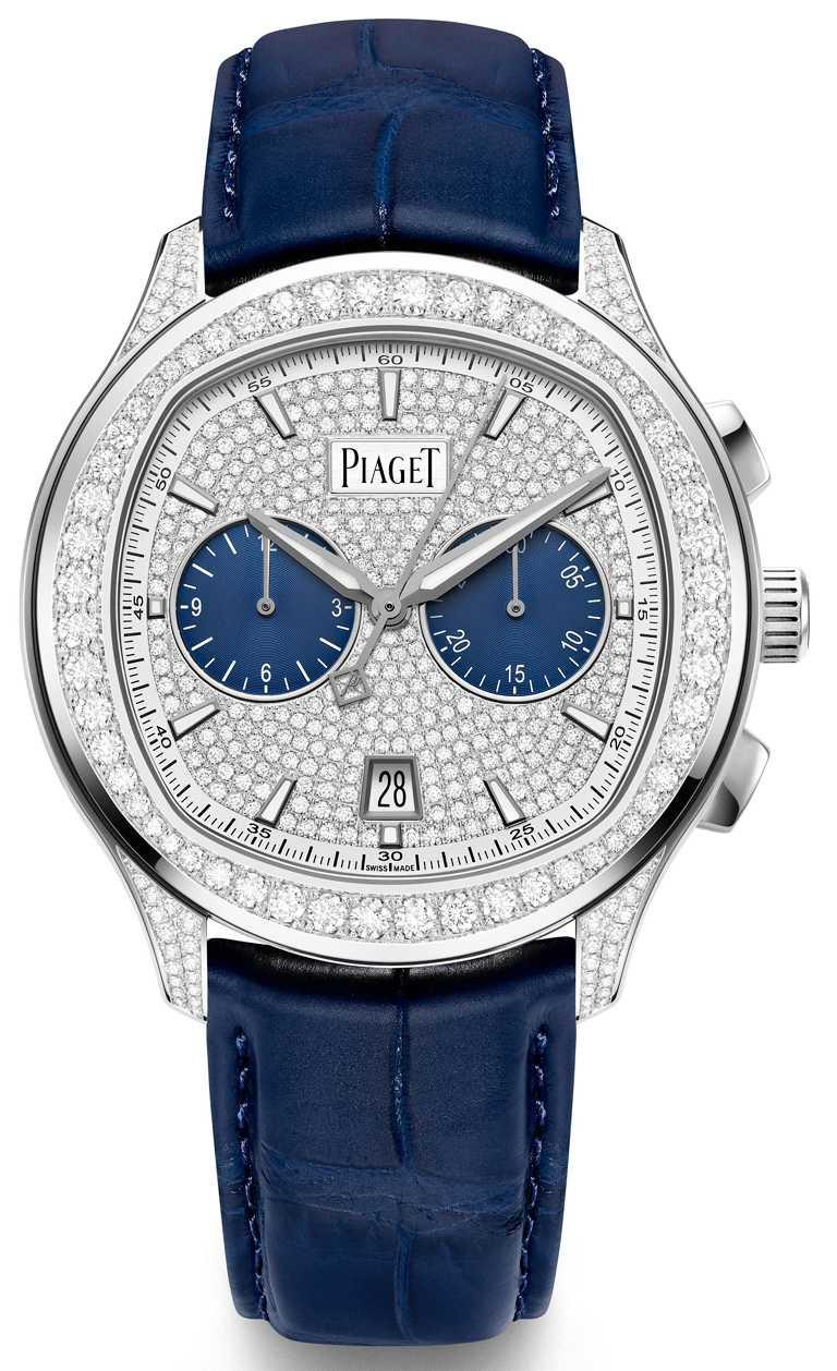 PIAGET「Polo」系列18K白金自動上鍊高級珠寶計時碼錶,42mm,18K白金錶殼,伯爵製1160P型自動上鍊機芯,鑽石479顆╱2,960,000元。(圖╱PIAGET提供)