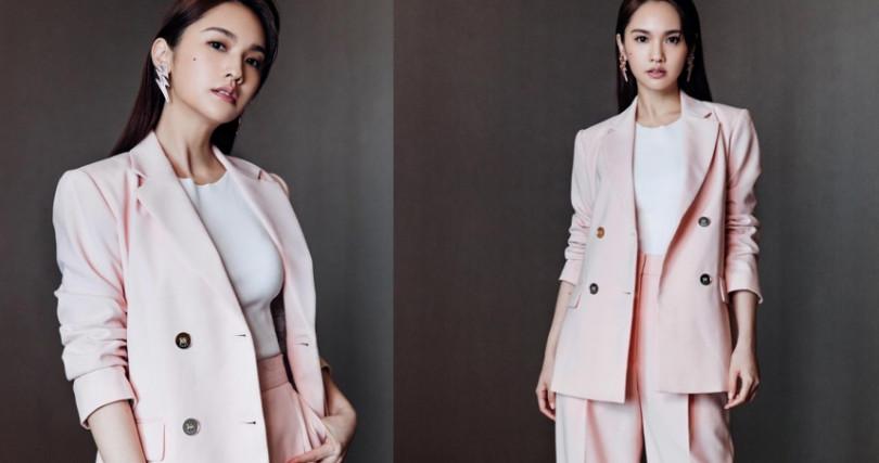楊丞琳特別選擇Sandro 2019春夏系列的粉色西裝套裝,整個人洋溢幸福粉紅泡泡,從衣著表露幸福!(圖/Sandro提供)