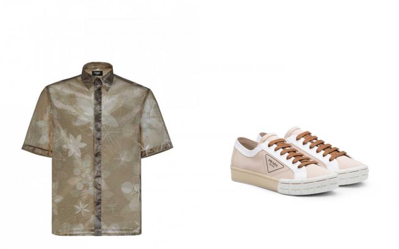 FENDI  春夏20系列透視印花設計襯衫/26,000元 、Prada 輪胎底 休閒鞋$25,500 /3,480元。(圖/品牌提供)