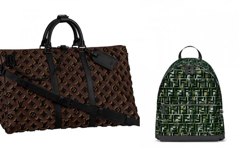 LOUIS VUITTON Keepall Triangle手袋/130,000元、FENDI 墨綠色FF Logo設計後背包/56,000元。(圖/品牌提供)