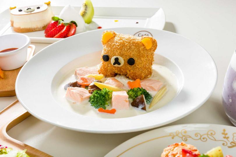 拉拉熊鮭魚巧達飯。(圖/拉拉熊咖啡廳提供)
