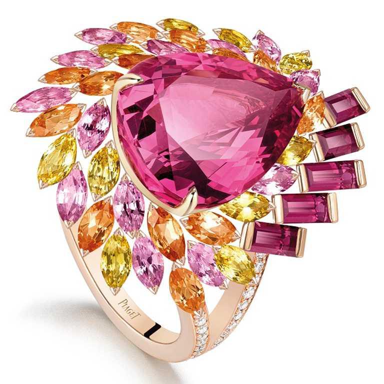 PIAGET「Wings of Light光之羽翼」系列,坦桑尼亞粉紅尖晶石頂級珠寶彩色寶石晚霞戒指╱6,200,000元。(圖╱PIAGET提供)