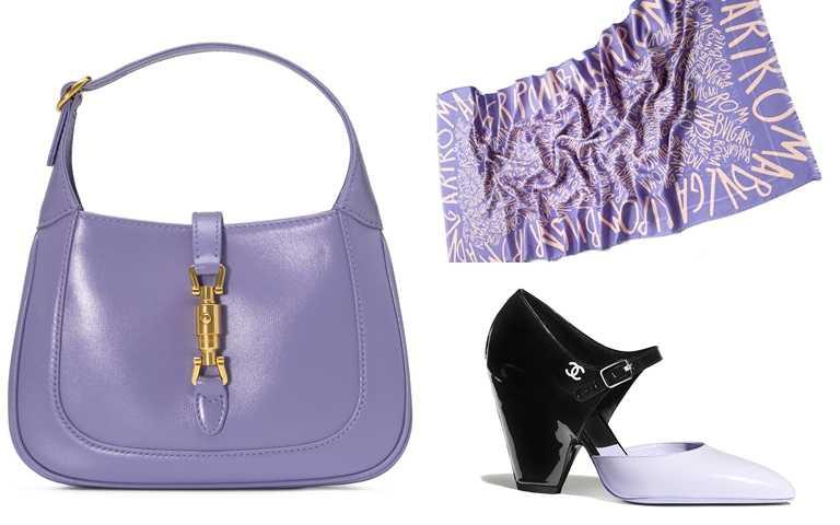 以下這幾款紫色配件都很推薦>>GUCCI JACKIE 1961迷你肩背包(淺紫)/58,800元、BVLGARI薰衣草紫水晶色Lettere Maxi Graffiti絲毛圍巾/約14,600元、CHANEL紫黑雙色漆皮粗低跟鞋/33,600元(圖/品牌提供)