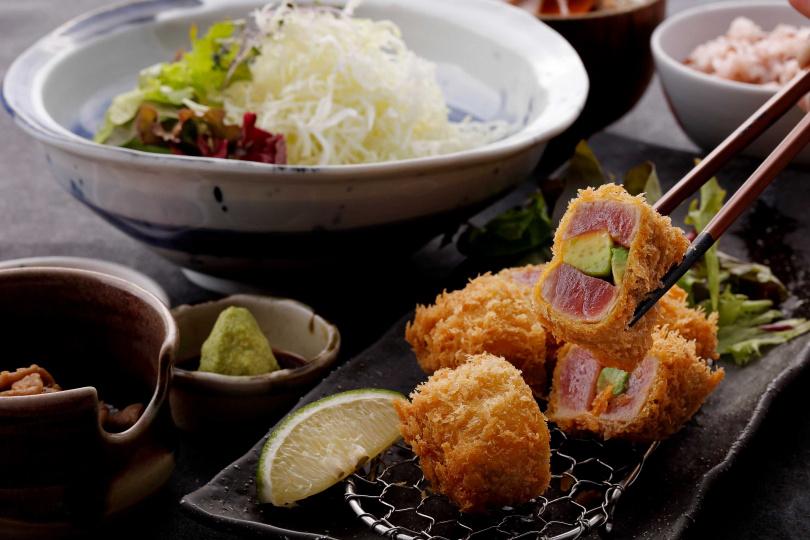 「酪梨鮪魚套餐」。(520元,圖/伊勢路-勝勢日式豬排提供)