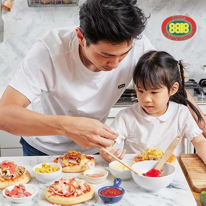 8818比薩屋的「居家DIY披薩」可在家自己動手完成。(520元/盒)