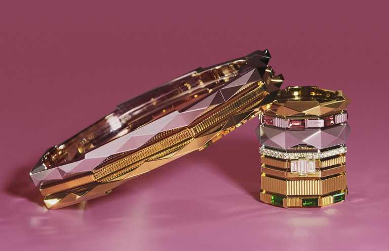 GUCCI「Link to Love」系列的硬手鐲與戒指作品,呼應數字「8」的特殊八角造型,方便自由堆疊。(圖╱GUCCI提供)