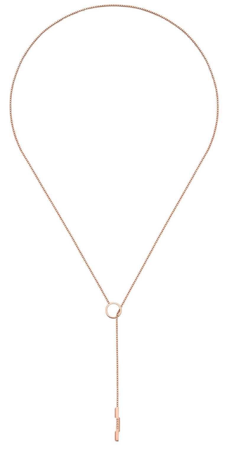 GUCCI「Link to Love」系列,18K玫瑰金套索項鍊╱50,100元。(圖╱GUCCI提供)