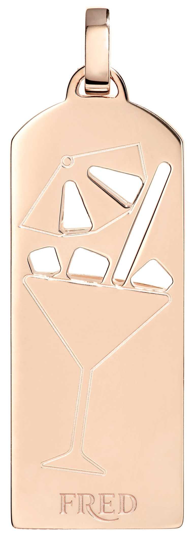 FRED「Riviera」系列,雞尾酒鑽飾玫瑰金鍊墜(反面)╱203,900元。(圖╱FRED提供)