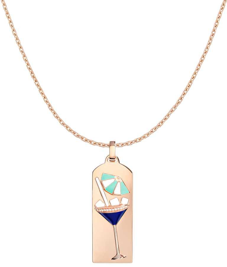FRED「Riviera」系列,雞尾酒鑽飾玫瑰金鍊墜(正面)╱203,900元。(圖╱FRED提供)