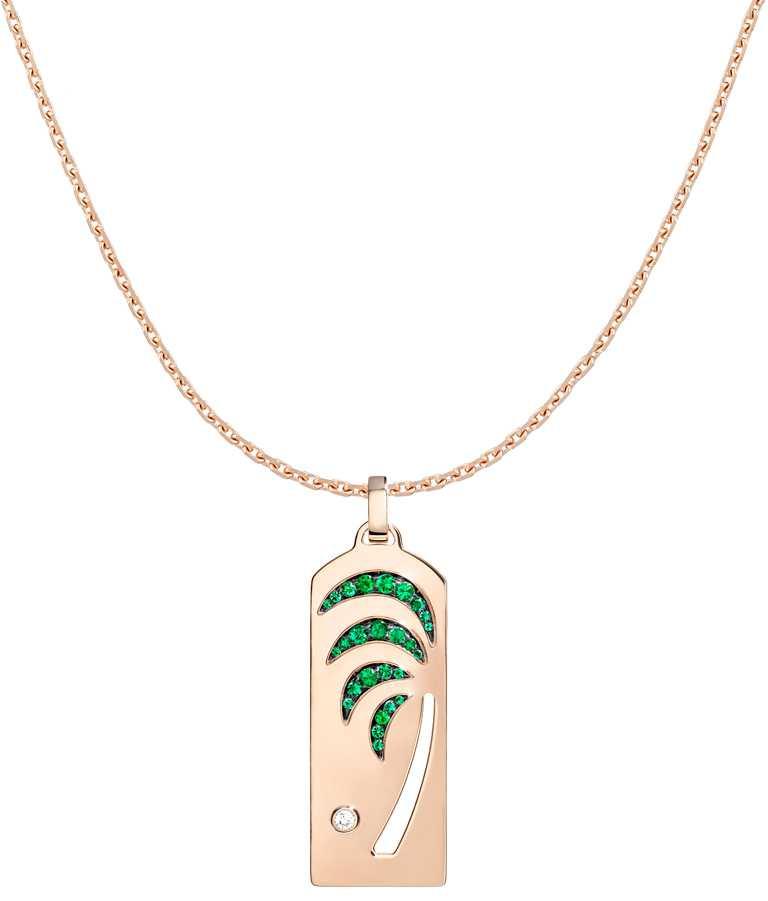 FRED「Riviera」系列,祖母綠棕櫚樹玫瑰金鍊墜(正面)╱272,400元。(圖╱FRED提供)