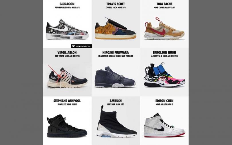 夢幻團隊成員著用的Nike聯名鞋。(圖/推特@lizahasanova)