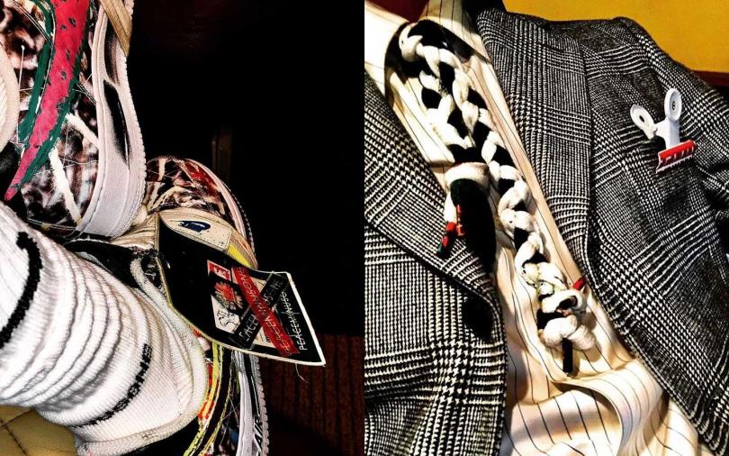 G-DRAGON分享出席Nike Forum時裝秀的造型細節,用鞋帶當作領帶又將帶起新風潮。(圖/翻攝自GD IG)