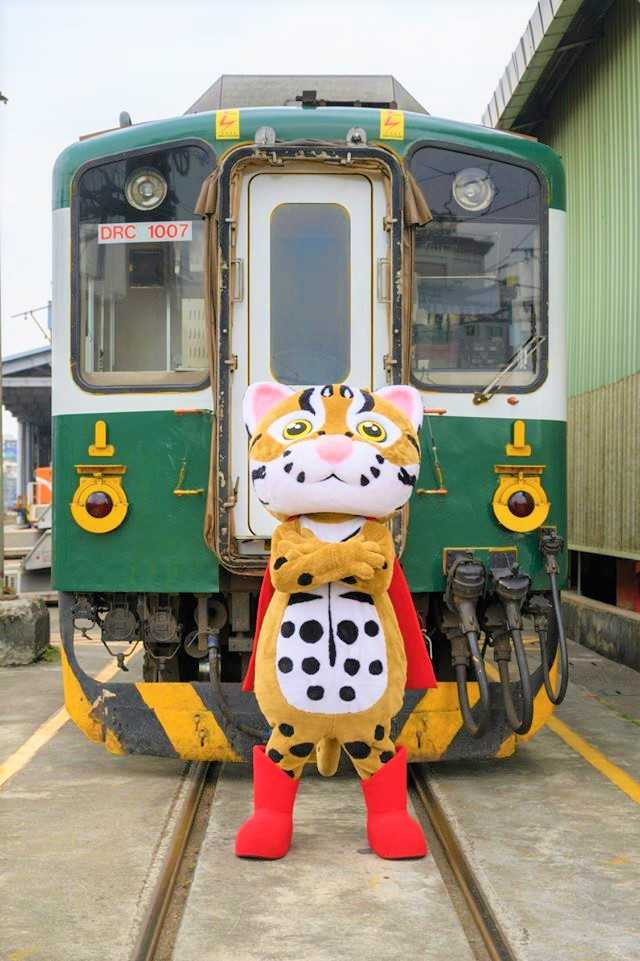 以石虎為主題的彩繪列車「集集石虎號」在今日首航。(圖/臺鐵局提供)