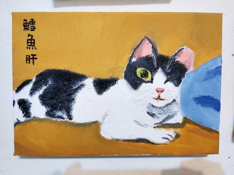 疼愛鱈魚肝的黃云歆,親自為愛貓作畫,畫得唯妙唯肖。(圖/黃云歆提供)