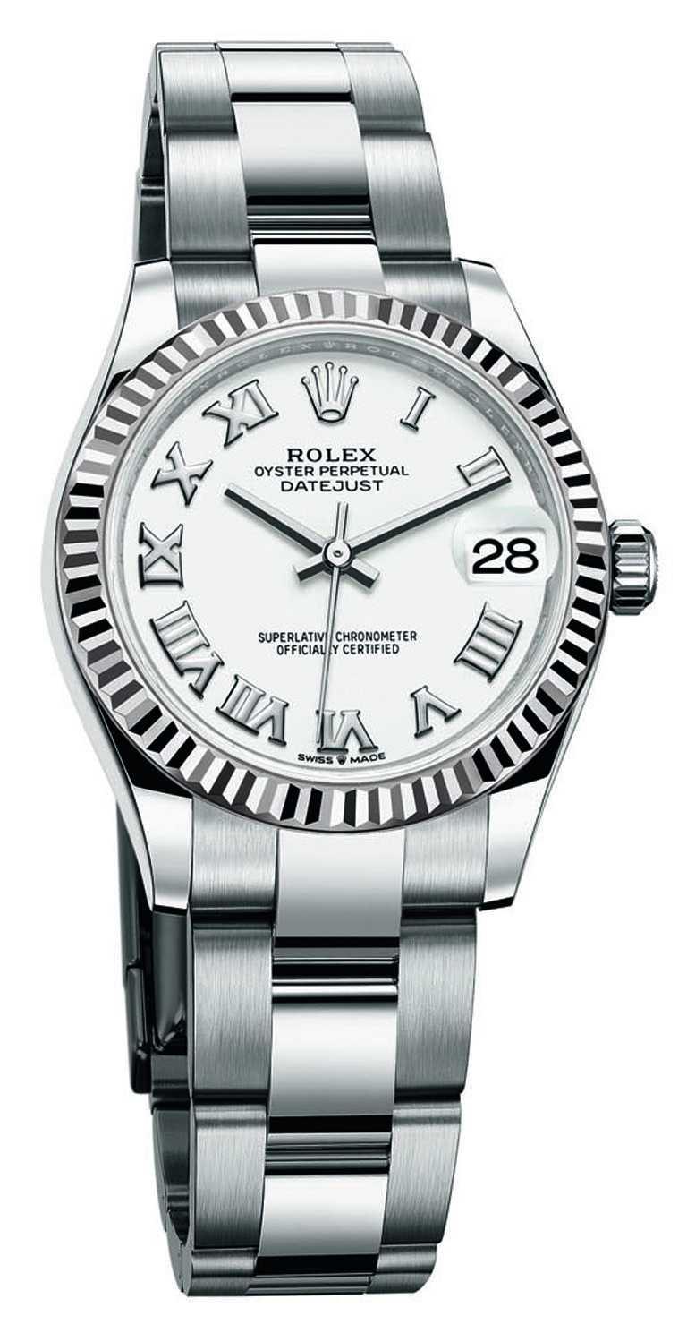 ROLEX「Oyster Perpetual Datejust蠔式恒動日誌」系列腕錶,白色漆面錶面,蠔式鋼錶殼,31mm╱258,000元(圖╱ROLEX提供)