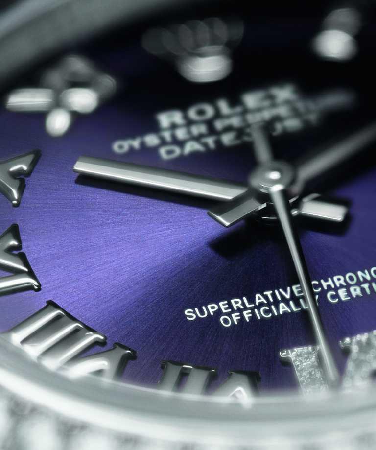 ROLEX「Oyster Perpetual Datejust蠔式恒動日誌」系列腕錶,茄紫色錶面,蠔式鋼錶殼,31mm,鑽石57顆╱533,000元(圖╱ROLEX提供)