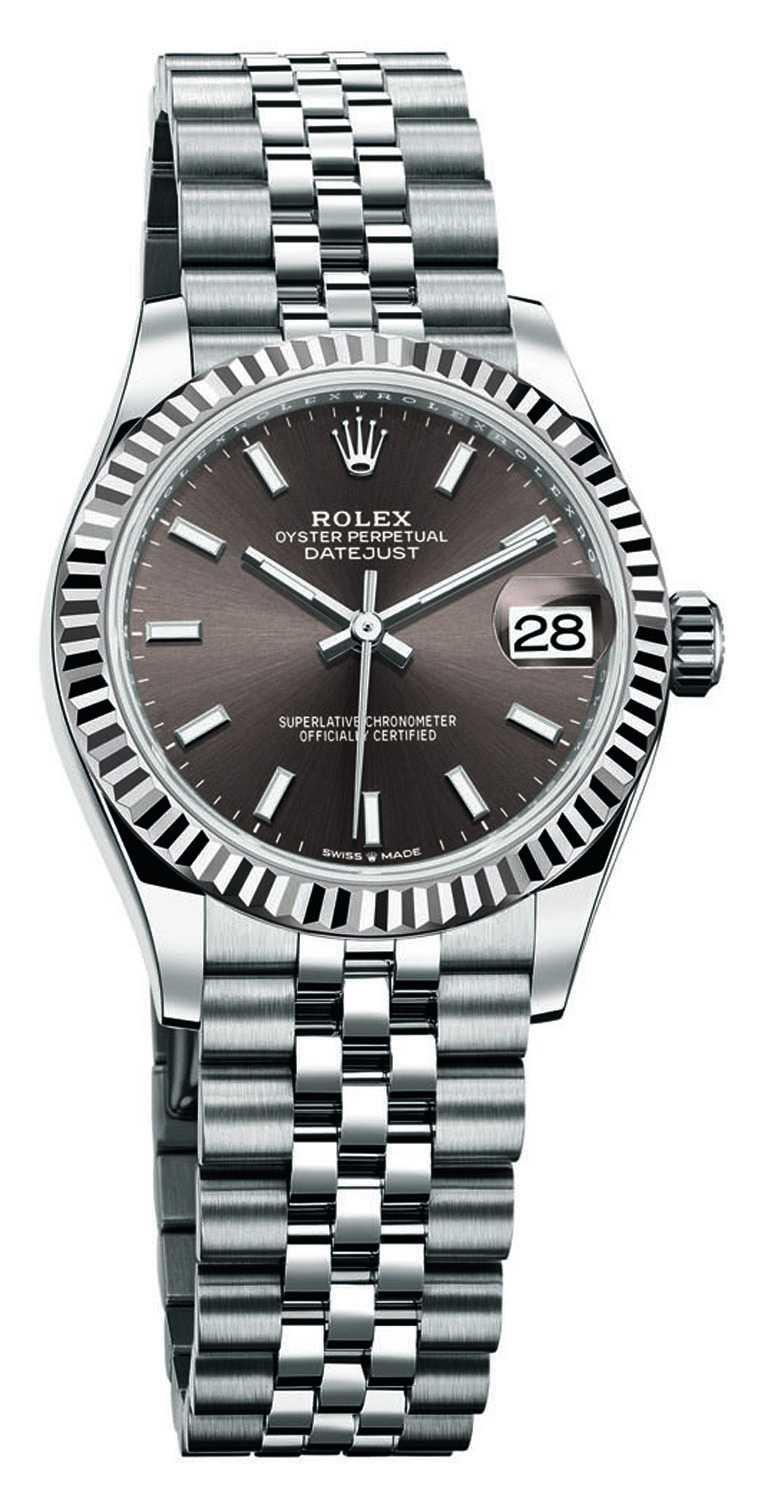 ROLEX「Oyster Perpetual Datejust蠔式恒動日誌」系列腕錶,深灰色錶面,蠔式鋼錶殼,31mm╱264,500元(圖╱ROLEX提供)